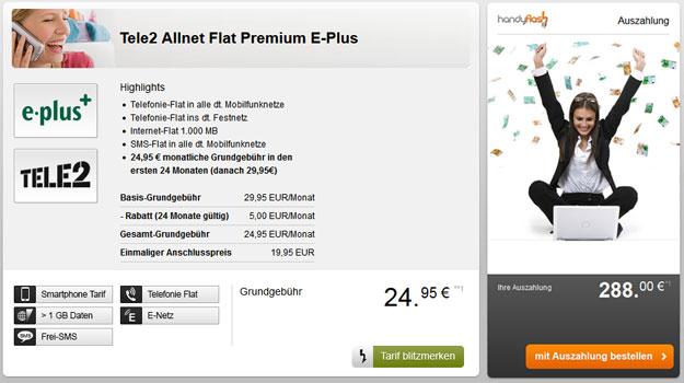 Tele 2 Allnet-Flat Premium mit 288 € Auszahlung