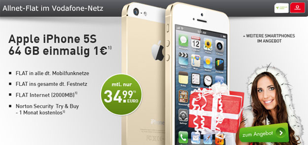 Vodafone Allnet-Flat mit iPhone 5s 64GB