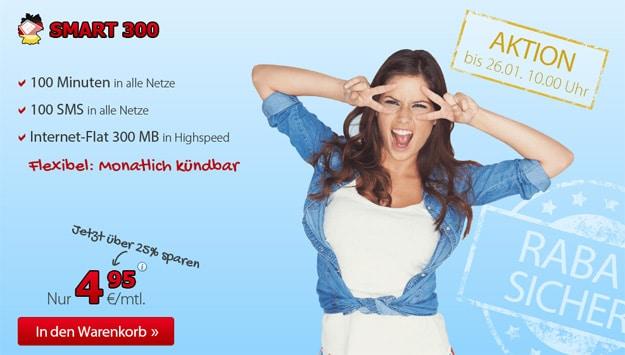 DeutschlandSIM Smart 300 für 4,95 € im Monat