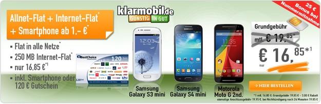 Klarmobil mit Gutschein und Samsung Galaxy S4 Mini
