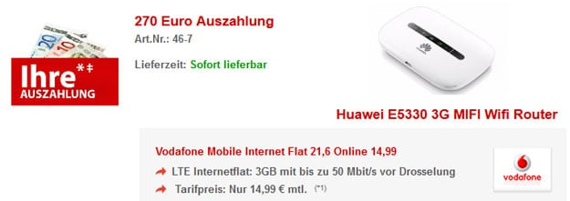 LTE-Flat 3GB mit Huawei E5330 Router