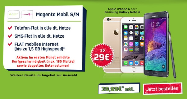 Magenta Mobil S mit iPhone 6 und Note 4