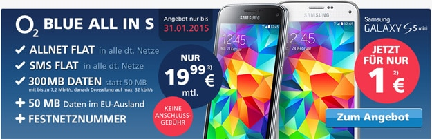 Samsung Galaxy S5 Mini mit o2 Blue All-in S