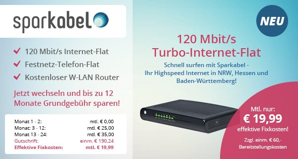 Sparkabel 120 Mbit/s Kabel-Internet