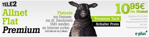 Tele2 Allnet-Flat mit 1 GB für 10,95 €