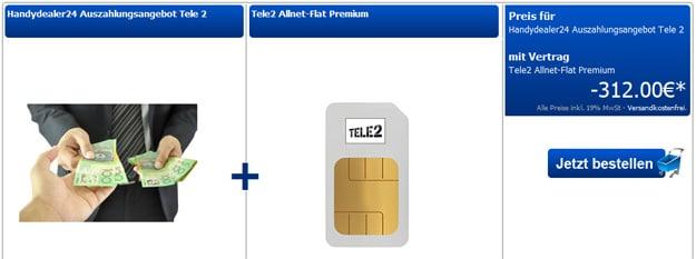 Tele2 mit 312 € Auszahlung bei Handydealer24