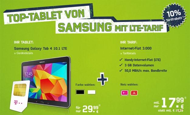 Telekom 3 GB LTE-Datentarif mit Tab 4 (10.1)