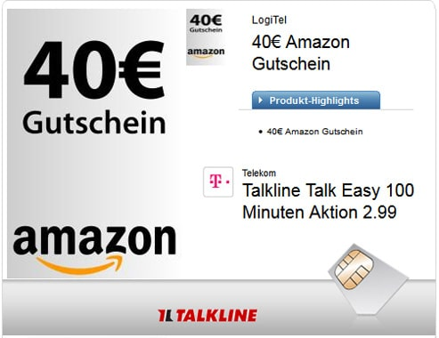 Talkline Talk Easy 100 mit 40 € Amazon-Gutschein
