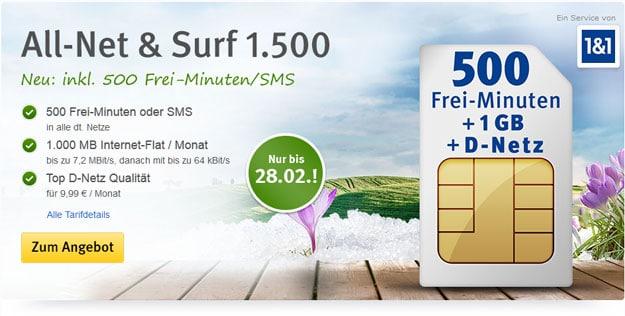 All-Net und Surf 1500 für 9,99 EUR