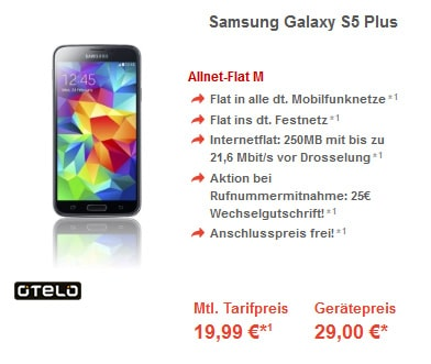 Otelo Allnet-Flat M mit Samsung Galaxy S5 Plus