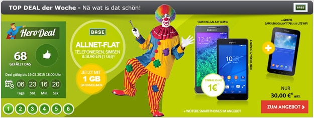 BASE all-in mit Smartphone + Tab 3 (7.0) Lite