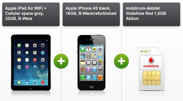iPhone 4S mit iPad Air im Vodafone Red M (md)