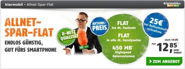 Klarmobil Allnet-Flat für 12,85 € mtl. mit Speed-On
