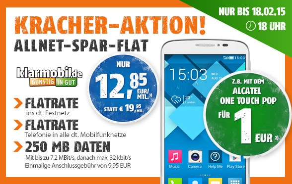 Klarmobil Allnet-Flat mit Alcatel One Touch Pop