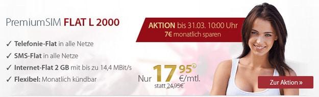 PremiumSIM Flat L 2000 für 17,95 € mtl.