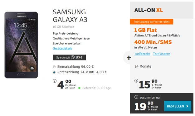 Samsung Galaxy A3 mit All-on XL