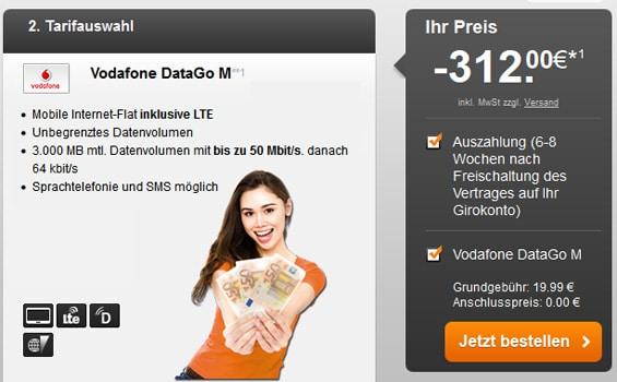 Vodafone DataGo M mit 312 € Auszahlung