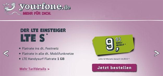 Yourfone LTE-Einsteigertarife