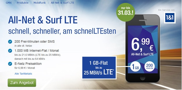 1&1 GMX All-Net Surf LTE