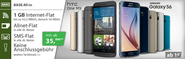 BASE all-in mit Samsung Galaxy S6 und HTC One (M9)