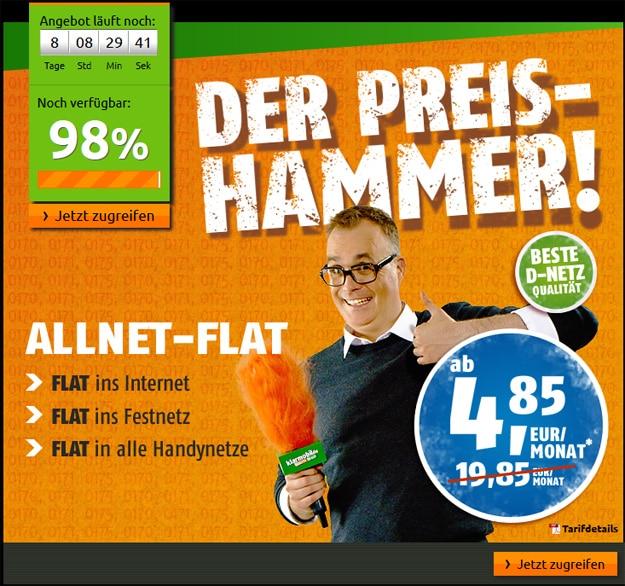 Crash Klarmobil-Allnet-Flat für 4,85 € im Monat