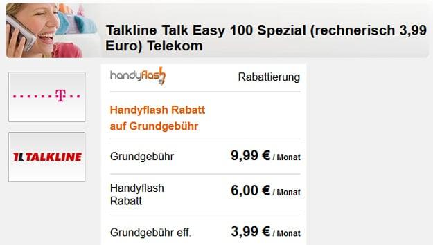 Handyflash Talk Easy 100 für 3,99 € mtl.
