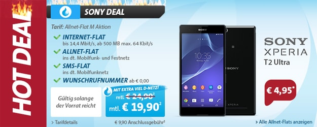 Hot Deal mit Sony Xperia T2 Ultra
