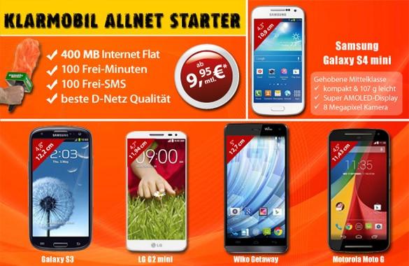 Klarmobil Allnet-Starter mit S4 Mini u.a.