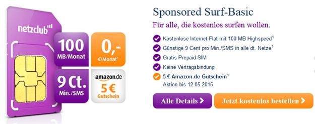 Netzclub 5 € Amazon-Gutschein