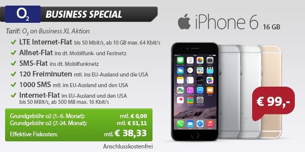 o2 on Business XL mit iPhone 6 16GB