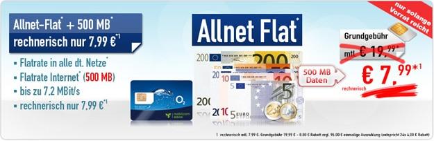 o2 Comfort Allnet für 7,99 €
