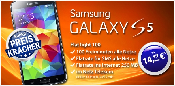 Samsung Galaxy S5 mit Flat Light 100
