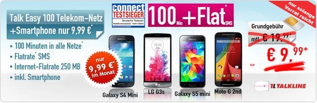 Talk Easy 100 mit Auszahlung und Samsung Galaxy S3 Mini