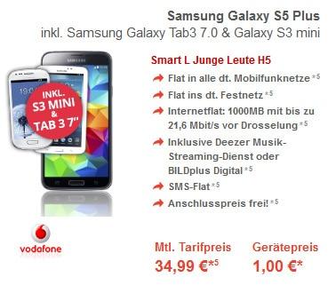 Vodafone Smart L mit S5+, S3 Mini und Tab 3