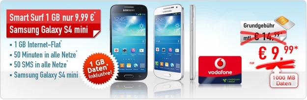 Vodafone Smart Surf mit Samsung Galaxy S4 Mini