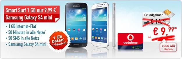 Vodafone Smart Surf mit Samsung Galaxy S4 Mini