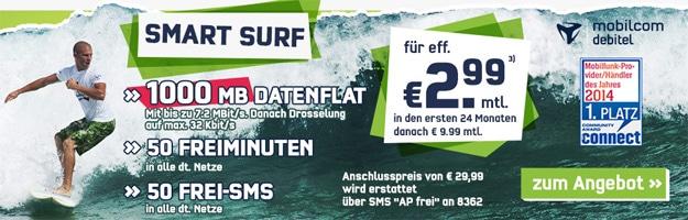 Vodafone Smart Surf für 2,99 € im Monat