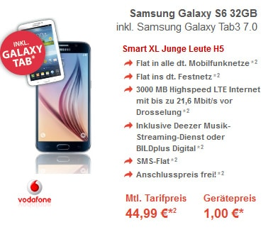 Vodafone Smart XL mit Samsung Galaxy S6 + Tab 3