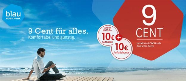 blau.de mit 10 € Startguthaben und 10 € Aufladebonus