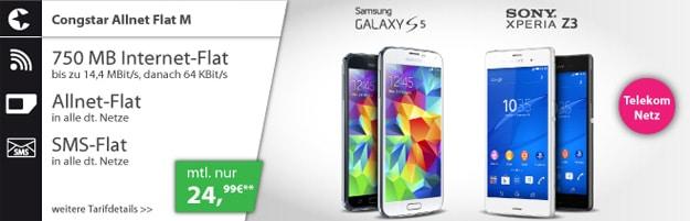 Congstar Allnet Flat M mit Samsung Galaxy S5 oder Sony Xperia Z3