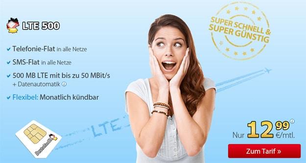 DeutschalndSIM LTE 500 für 12,99 € im Monat