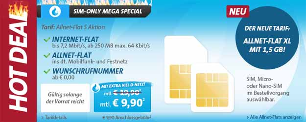Hot Deal Sparhandy Allnet Flat ab 9,90 €