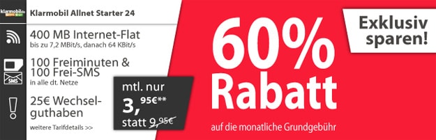 Klarmobil Allnet-Starter für 3,95 € im Monat