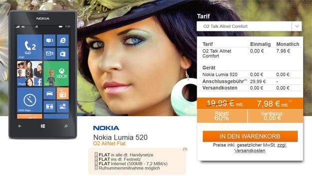 Nokia Lumia 520 mit o2 Comfort Allnet