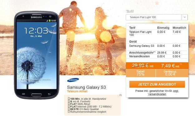 Samsung Galaxy S3 Mini mit Flat Light 100