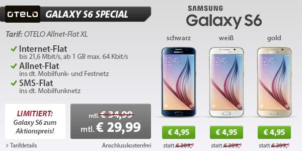 Samsung Galaxy S6 mit Otelo Allnet Flat XL