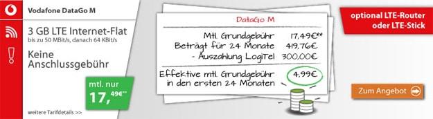 DataGo M für eff. 4,99 € durch 300 € Auszahlung