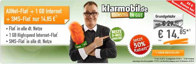 Klarmobil Allnet-Flat 14,85 € im Monat bei Handybude