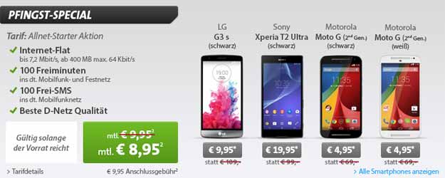 Klarmobil Allnet-Starter Vodafone mit Sony Xperia T2 Ultra u.a.