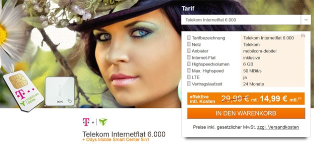 md Telekom Internetflat 6000 mit Odys